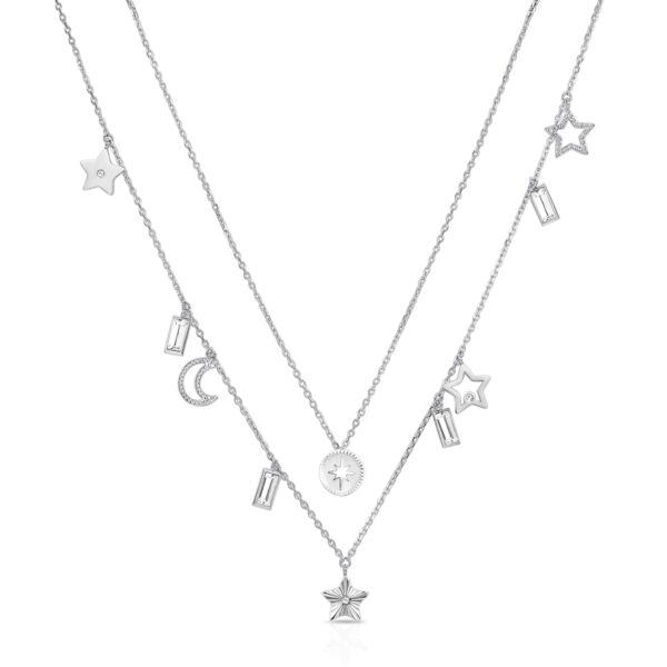 316L stainless steel double chain necklace, with symbol pendants and Swarovski©crystals.