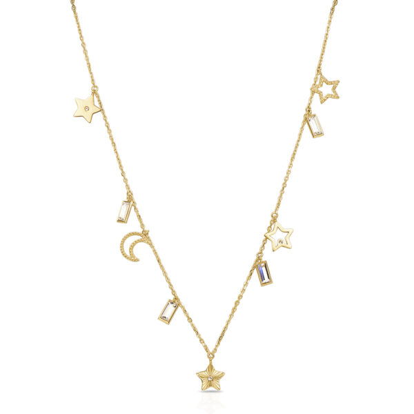 316L stainless steel and gold pvd necklace, with symbol pendants and Swarovski©crystals.