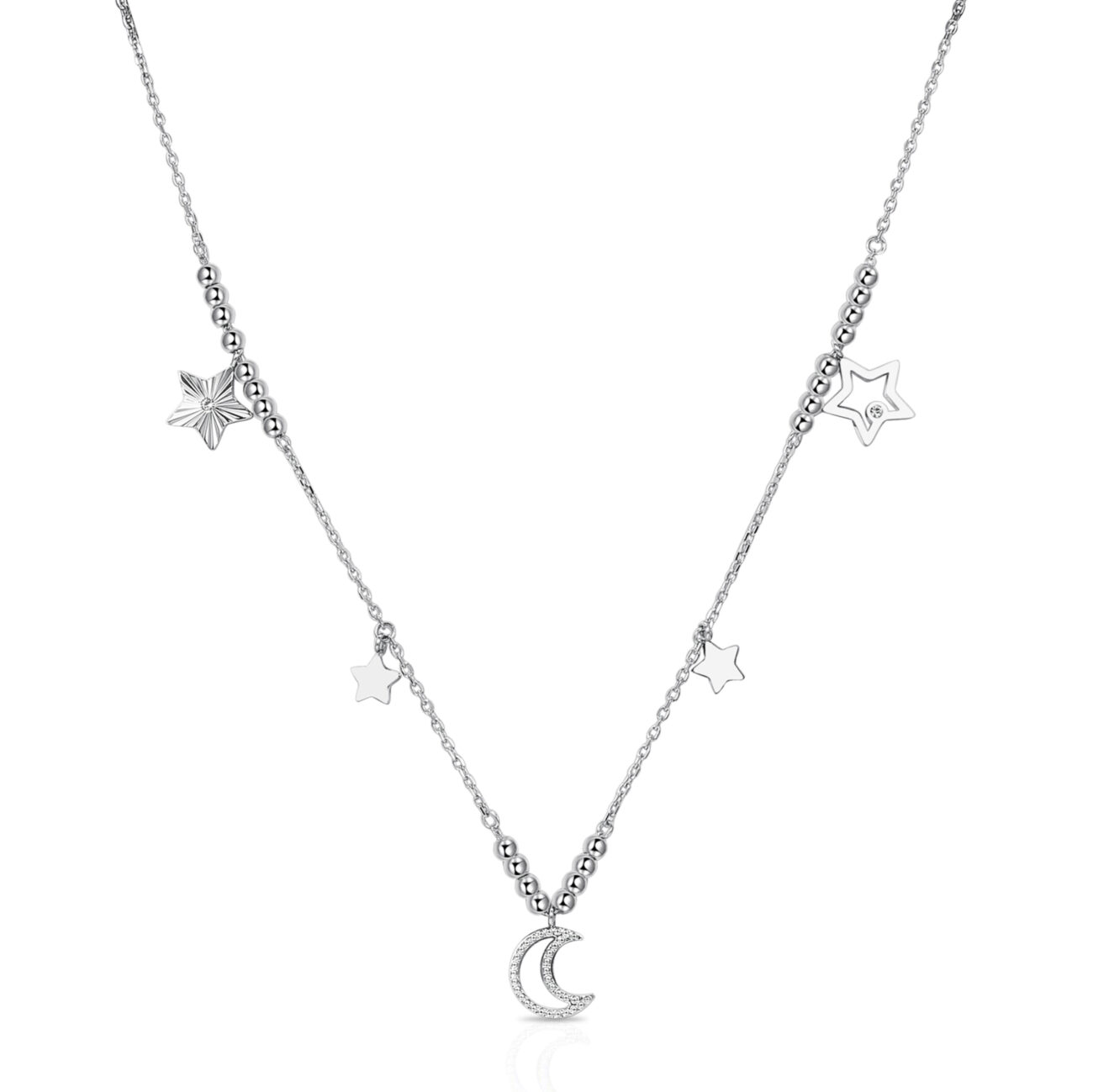 316L stainless steel necklace, with stars and moon pendants and Swarovski©crystals.