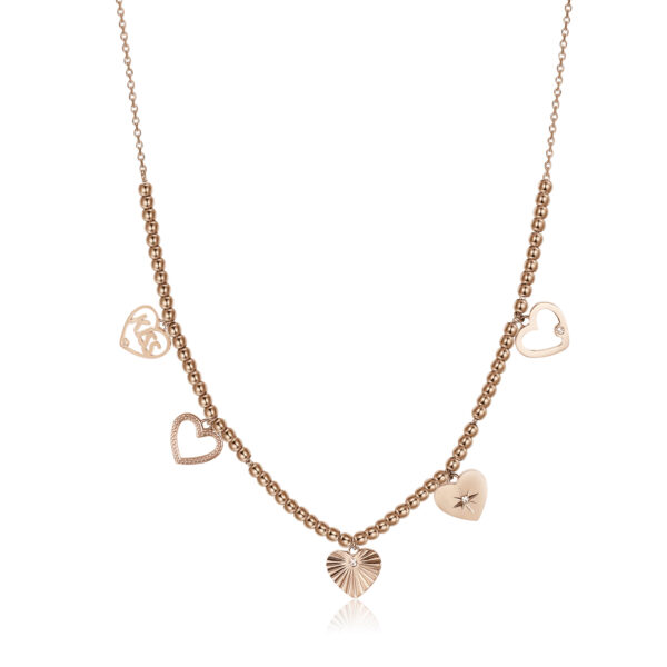 316L stainless steel necklace and rose gold pvd with heart pendants and crystal Swarovski©crystals.