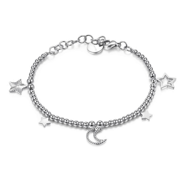 Bracelet with 316L stainless steel spheres, stars and moon pendants and Swarovski©crystals.