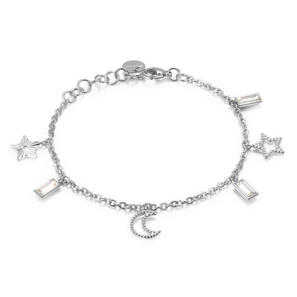 316L stainless steel bracelet, with stars and moon pendants and Swarovski©crystals.