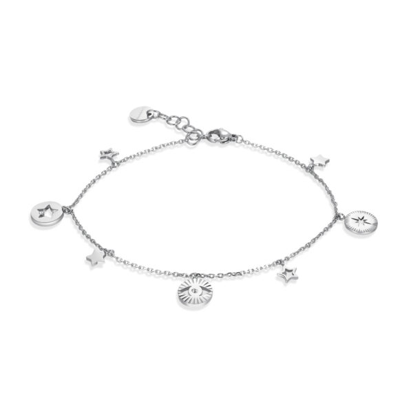 316L stainless steel anklet with Swarovski®crystals.