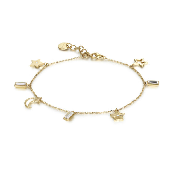 316L stainless steel anklet, gold pvd with Swarovski®crystals.