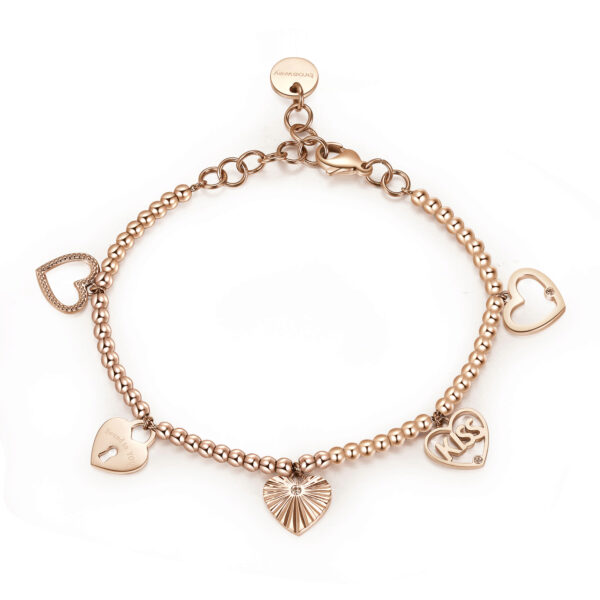 316L stainless steel bracelet and rose gold pvd with heart pendants and crystal Swarovski©crystals.