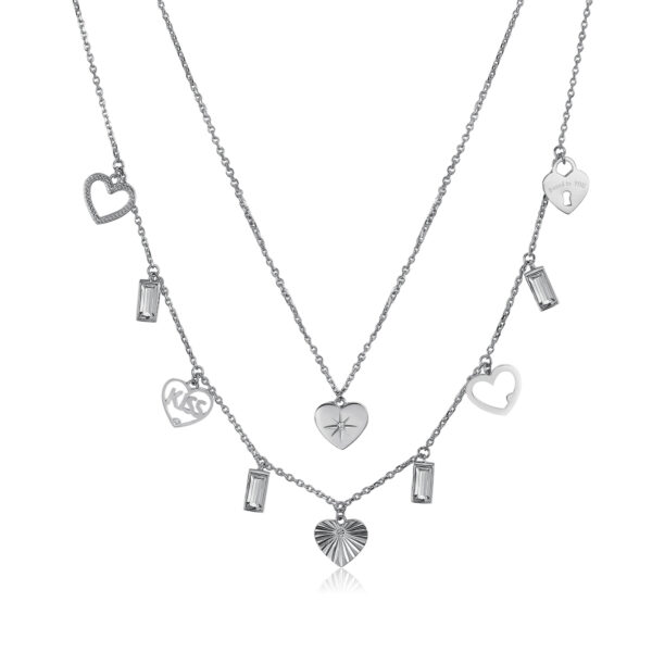 316L stainless steel necklace with heart pendants and crystal Swarovski©crystals.
