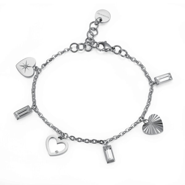 316L stainless steel bracelet with heart pendants and crystal Swarovski©crystals.