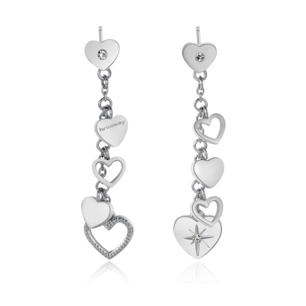 316L stainless steel pendant earrings with heart pendants and crystal Swarovski©crystals.