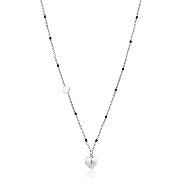 316L stainless steel necklace with heart pendant and black enamel with Swarovski® crystal.