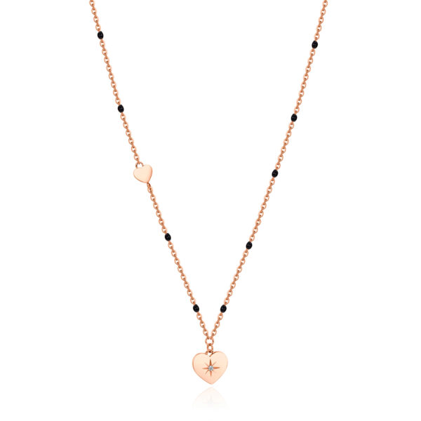 316L stainless steel necklace, rose gold pvd with heart pendant and black enamel with Swarovski® crystal.