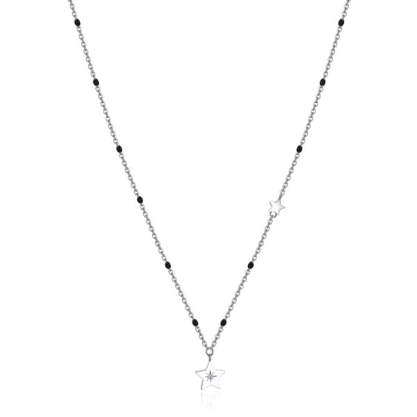 316L stainless steel necklace with star pendant and black enamel with Swarovski® crystal.