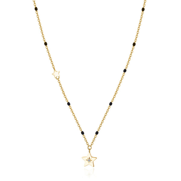 316L stainless steel necklace, gold pvd with star pendant and black enamel with Swarovski® crystal.