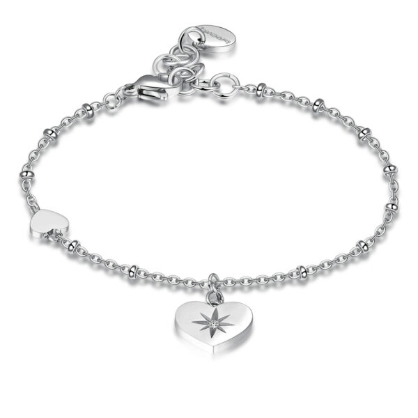 316L stainless steel bracelet with heart pendant and Swarovski® crystal.