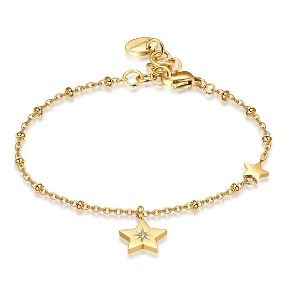 316L stainless steel, gold pvd with star pendant and Swarovski® crystal.