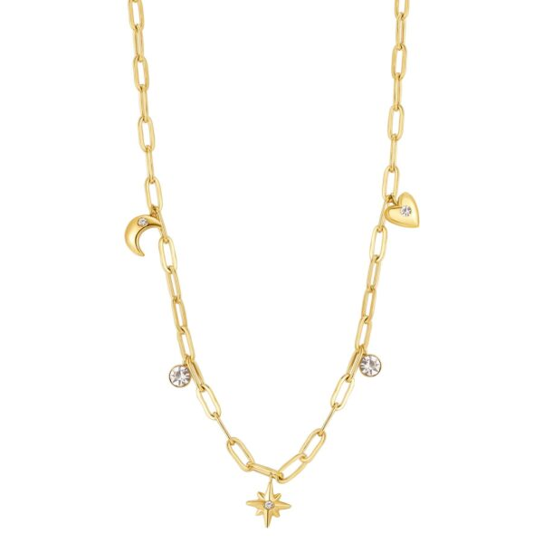 316L stainless steel chain necklace, gold finishes with pendants and crystals.