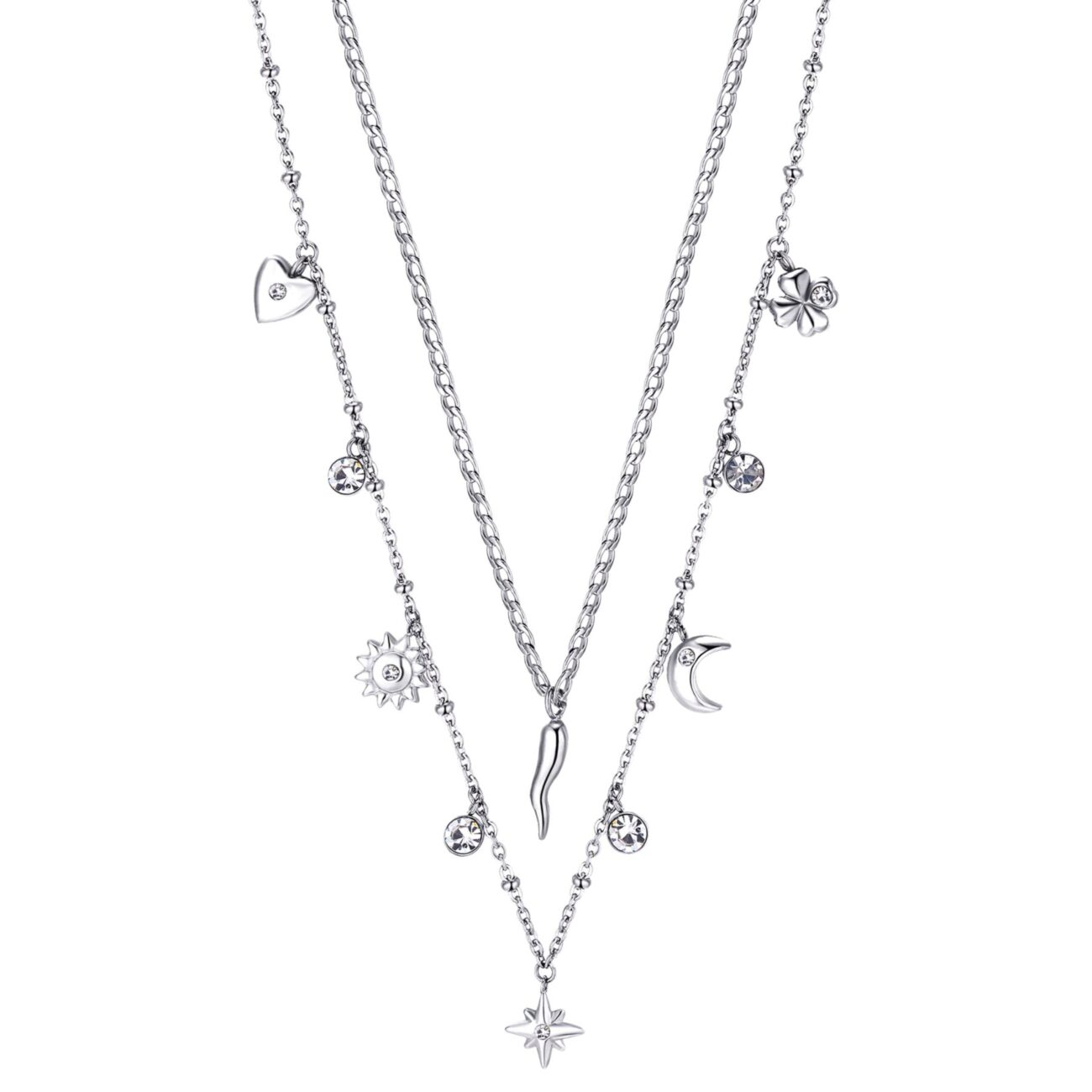 316L stainless steel double chain necklace with pendats and crystals.