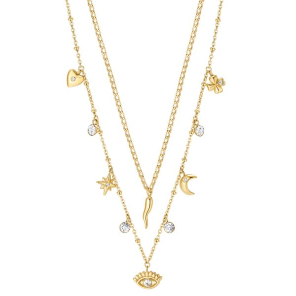 316L stainless steel double chain necklace, gold finishes with pendants and crystals.