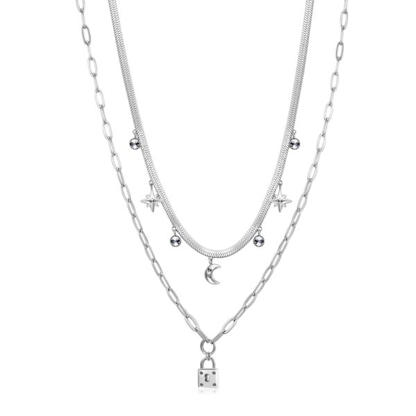 316L stainless steel double chain necklace with pendants and crystal.