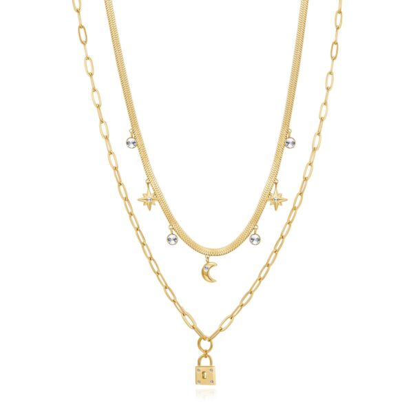 316L stainless steel double chain necklace, gold finishes with pendants and crystal.