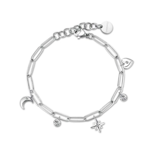 316L stainless steel bracelet with pendants and crystals.