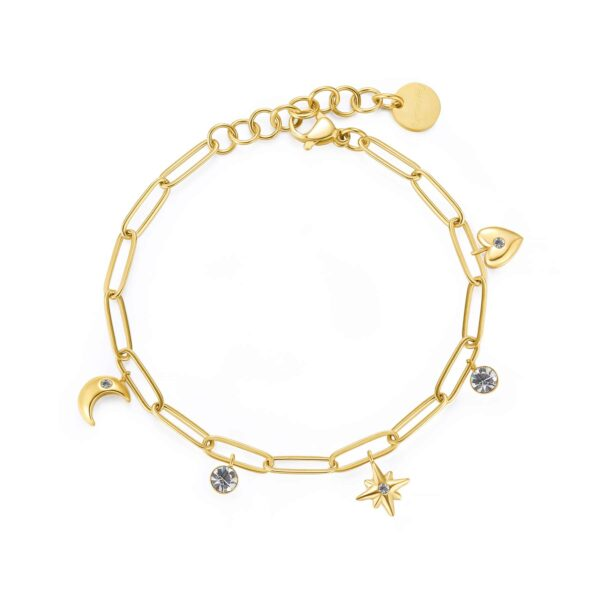 316L stainless steel bracelet and gold finishes with pendants and crystals.