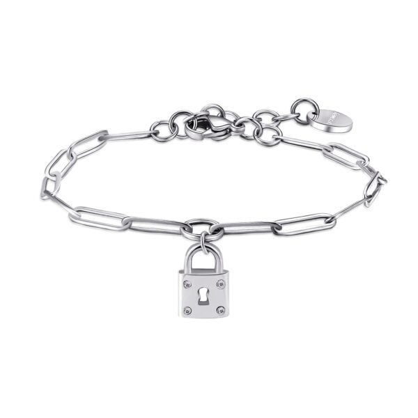 316L stainless steel bracelet with pendant and crystals.