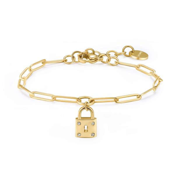 316L stainless steel bracelet and gold finishes with pendant and crystals.