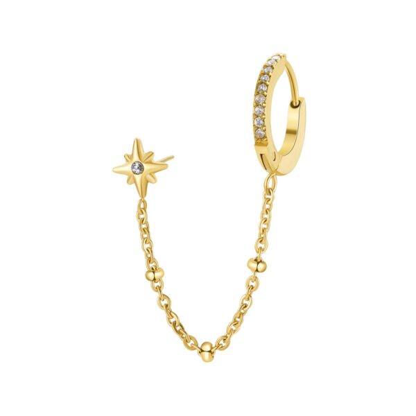 316L stainless double earring, gold finishes with chain and crystals.