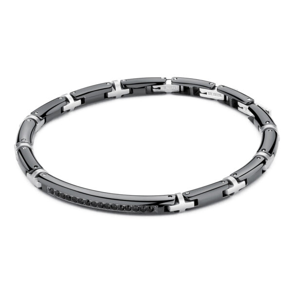 Polished gunmetal PVD and brushed stainless steel bracelet with Swarovski® Elements crystals.
