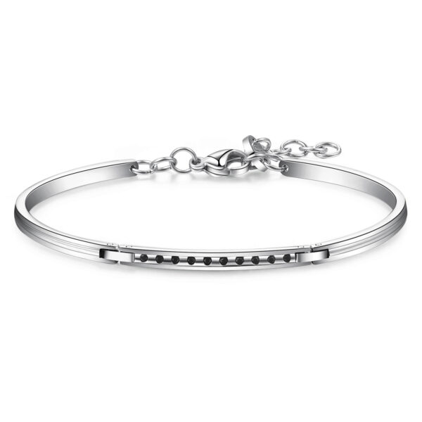 316L stainless steel semi-rigid bracelet, with jet Swarovski©crystals.