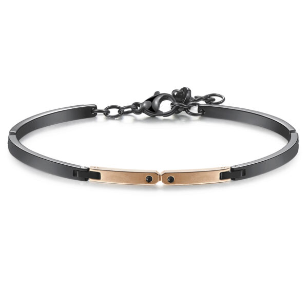316L stainless steel, black and rose gold pvd semi-rigid bracelet, with jet Swarovski©crystals.