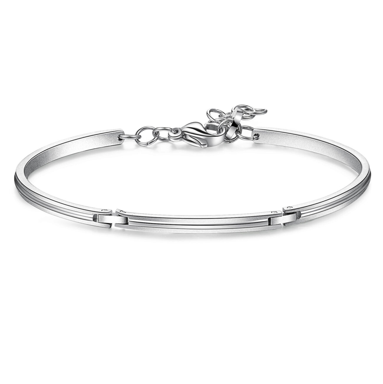 316L polished and brushed stainless steel semi-rigid bracelet.