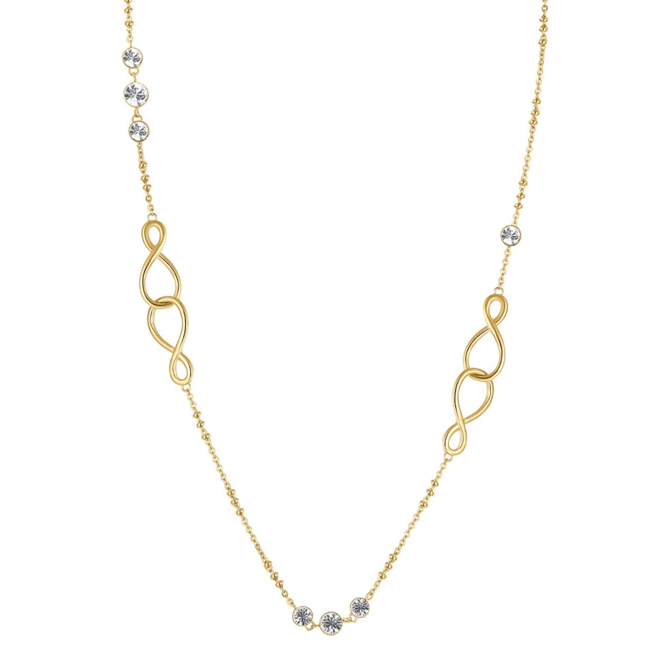 316L stainless steel necklace and gold finishes with crystals and infinity shaped details.