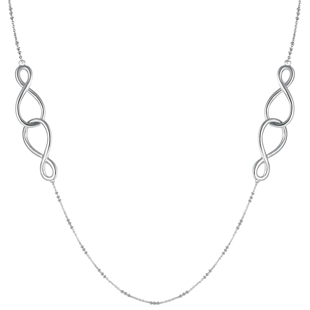 316L stainless steel necklace with crystals and infinity shaped details.