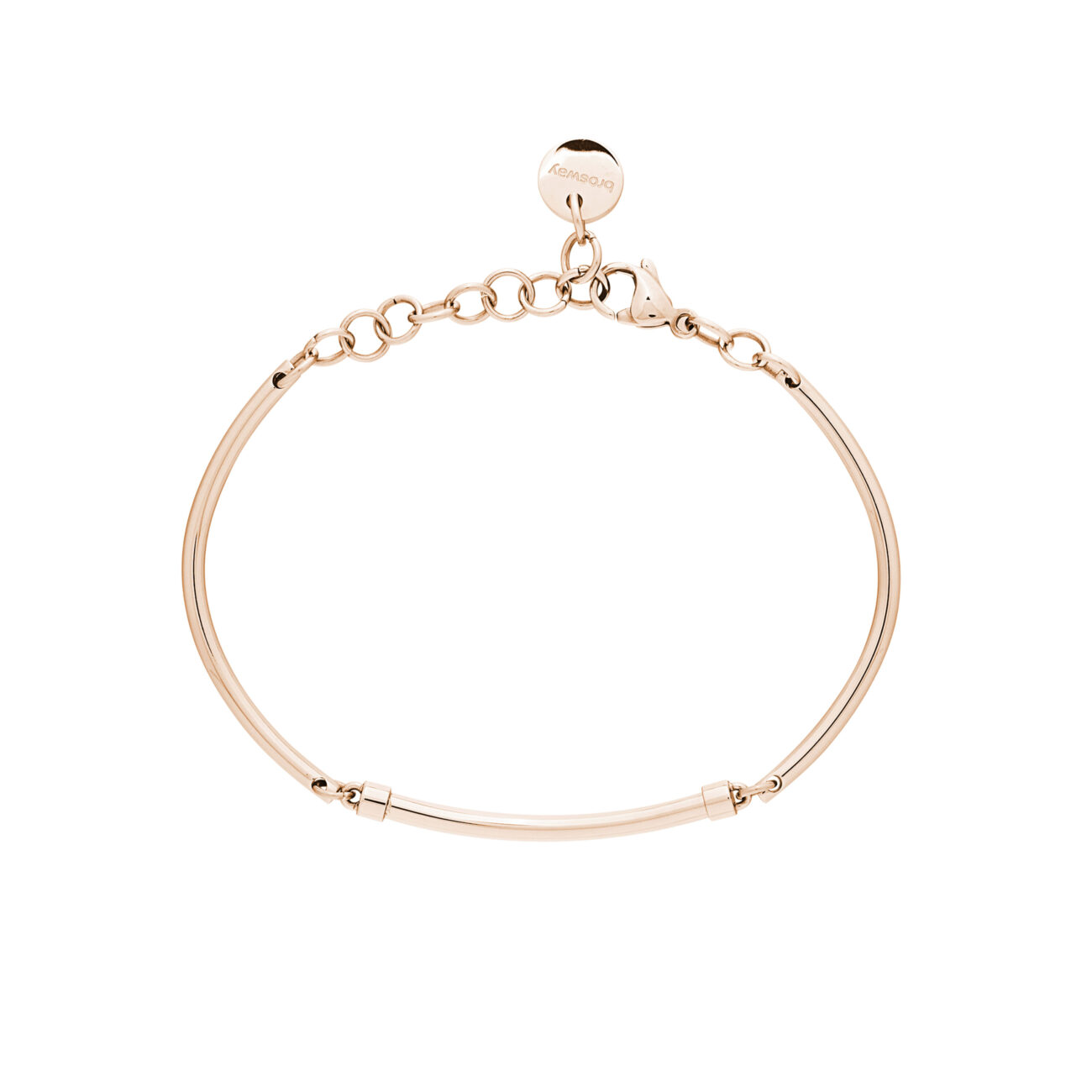 316L stainless steel semi-rigid bracelet and rose gold pvd