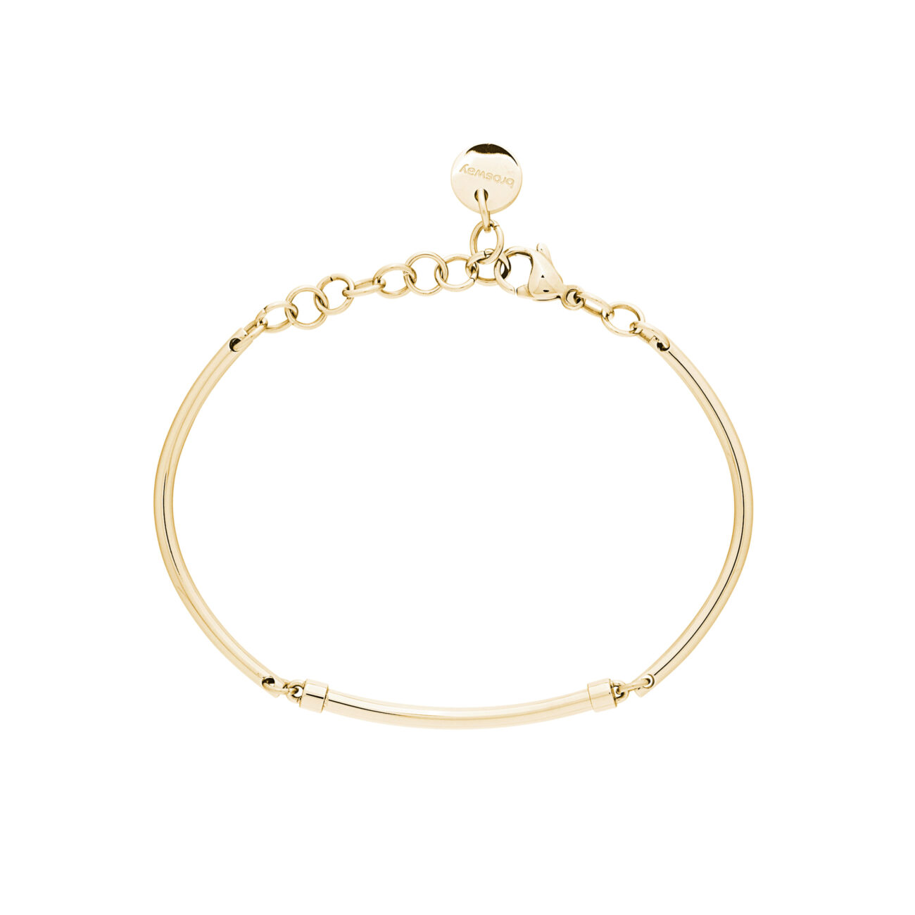 316L stainless steel semi-rigid bracelet and gold pvd