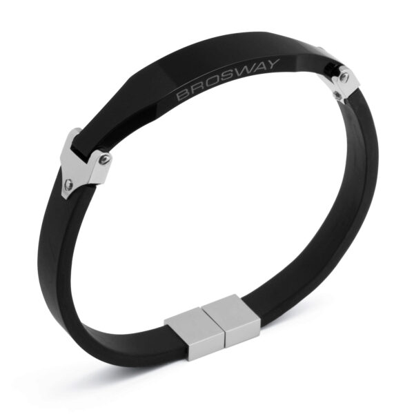 Class stainless steel bracelet, black pvd and rubber