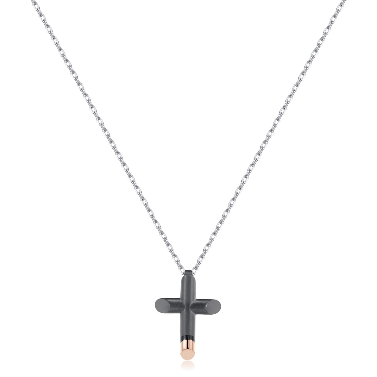 316L stainless steel necklace, comfort fit, cross pendant in gray gun satin pvd, rose gold pvd finishes and deep black enamel detail.