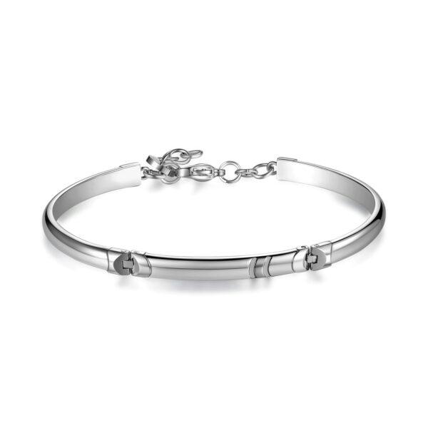 316L stainless steel bracelet, semi-rigid, double rail in shiny steel with deep black enamel finishes.