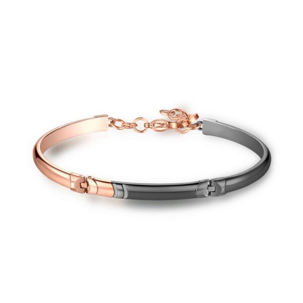 316L stainless steel bracelet, semi-rigid, double rail bracelet with gray gun pvd finishes and deep black enamel details.