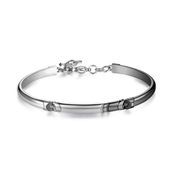 316L stainless steel bracelet, semi-rigid, double rail bracelet in shiny steel, finishes in gray gun pvd and enamelled details in deep black color.