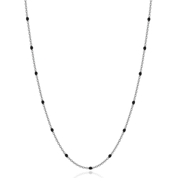 316L stainless steel necklace and black enamel.