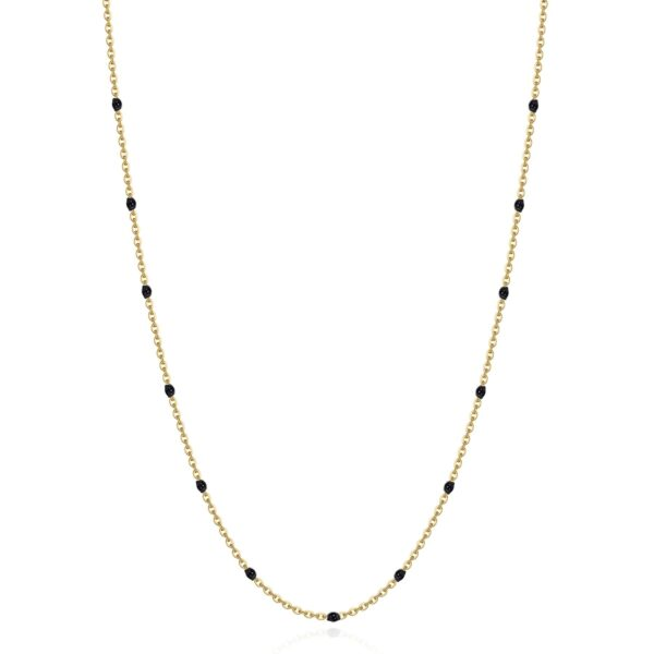 316L stainless steel necklace, gold finishes and black enamel.