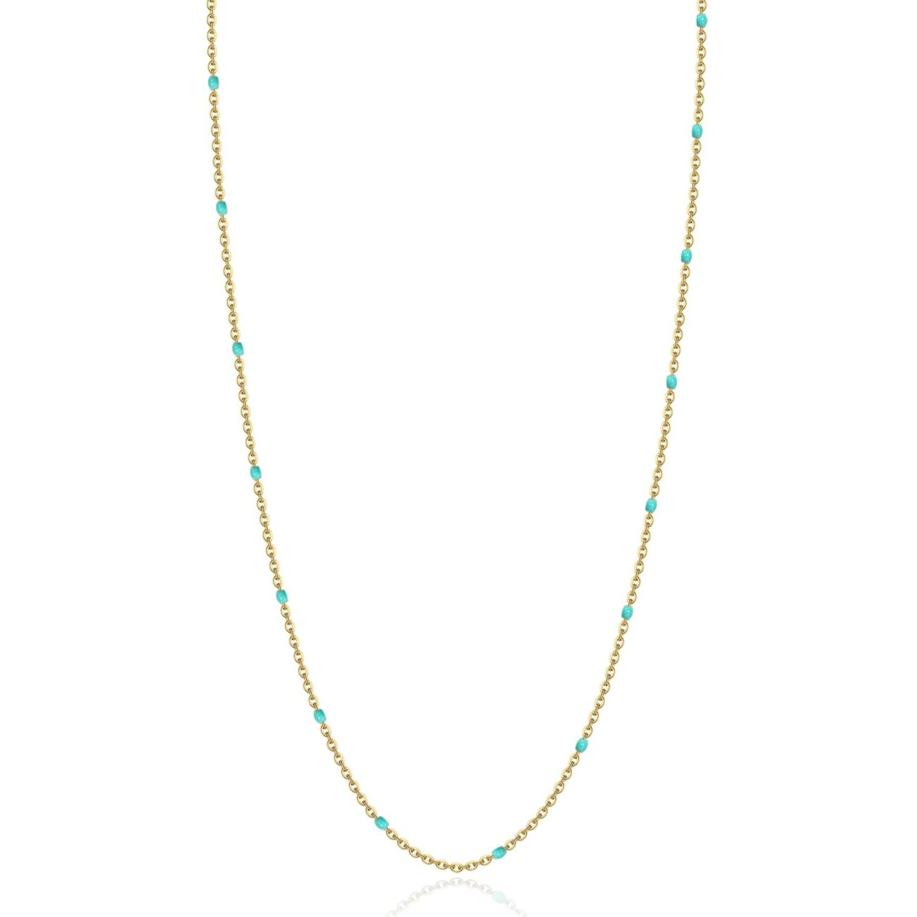 316L stainless steel necklace, gold finishes and turquoise enamel.