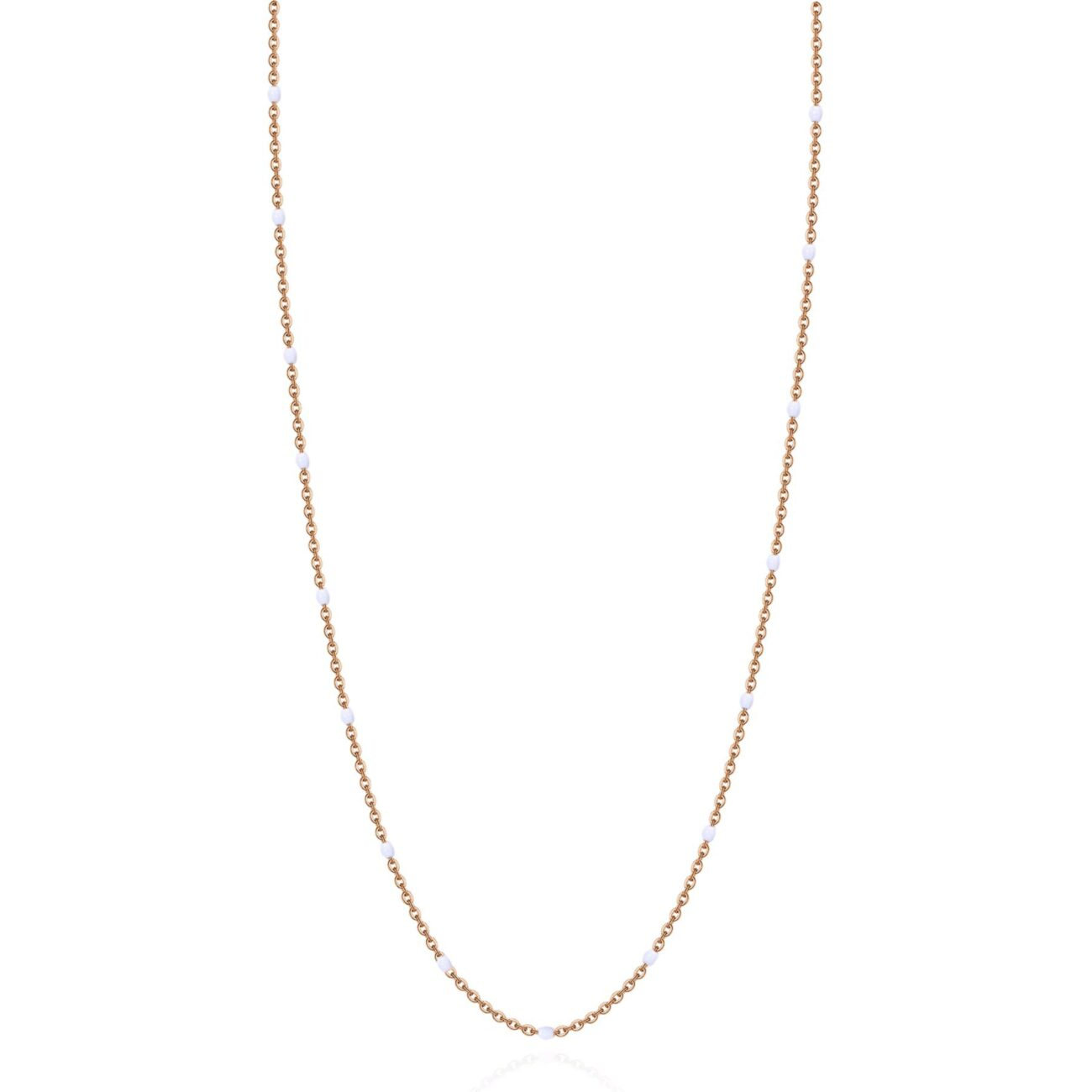 316L stainless steel necklace, rose gold finishes and white enamel.