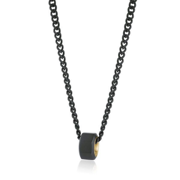 316L stainless steel necklace, black satin finishes and gold finishes.