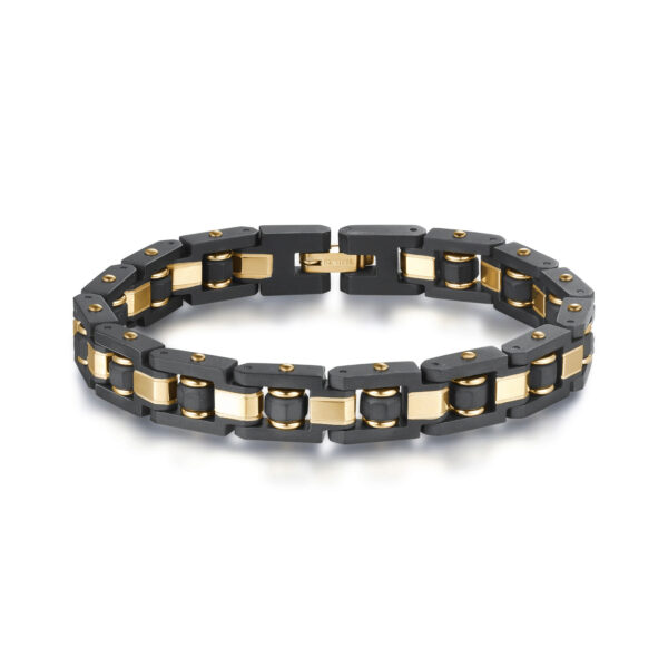 316L stainless steel bracelet with black satin finishes and gold fnishes.