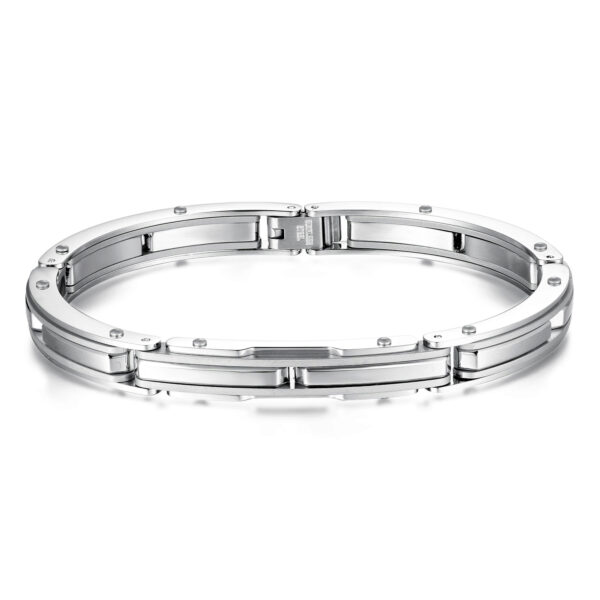 316L stainless steel bracelet with polished and brushed steel.