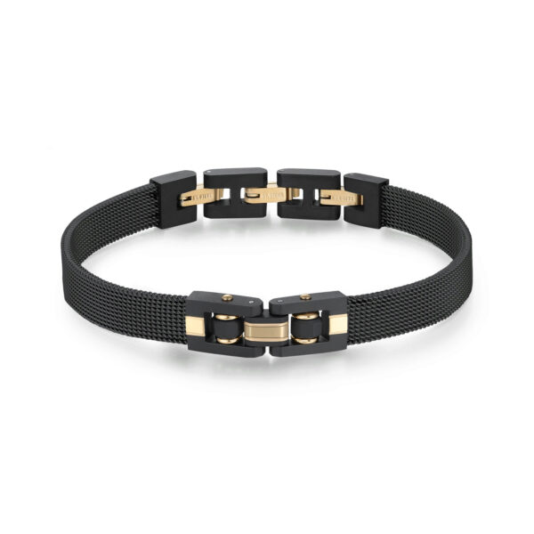 316L stainless steel bracelet with black finishes and gold fnishes.
