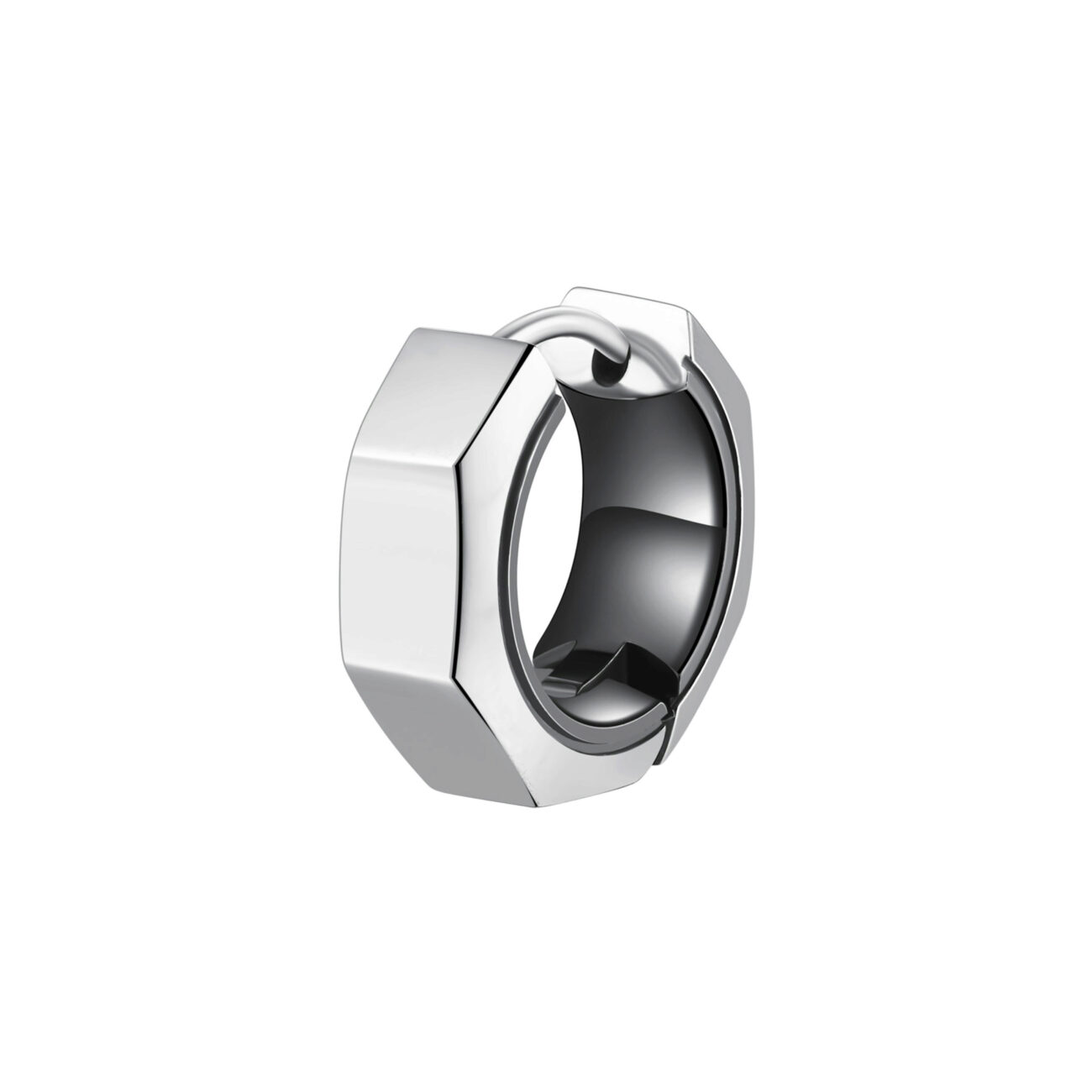 Single earring in 316L stainless steel bolt-shaped and gun finishes.